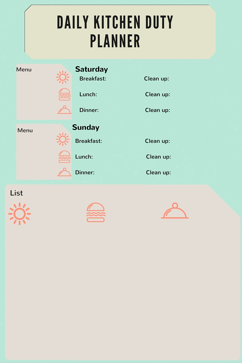 Meal Planner printable Page 2