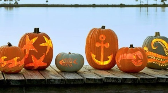 beach themed carved pumpkins | SeaShore Realty